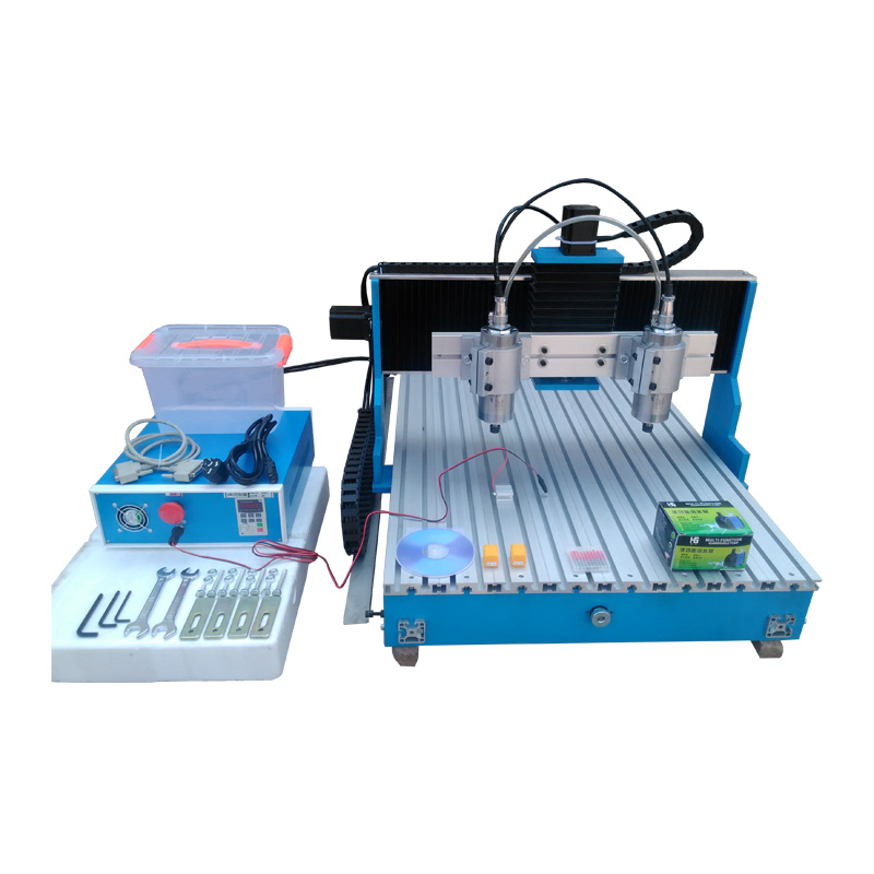 cnc router 1.5KW 3axis double-spindle 6090 Linear Guide Rail Engraving Machine 1500w 1 5kw spindle 3axis cnc router