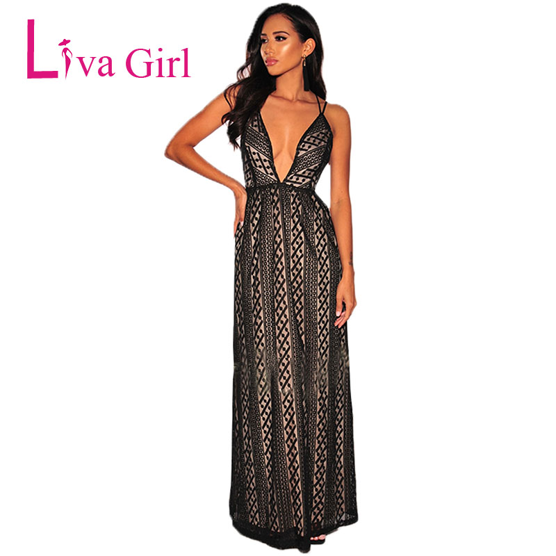 0433adfb4d7d0 LIVA GIRL Nude Illusion Lace Backless Evening Party Maxi Dress Women Sexy  Deep V Neck Dresses ...