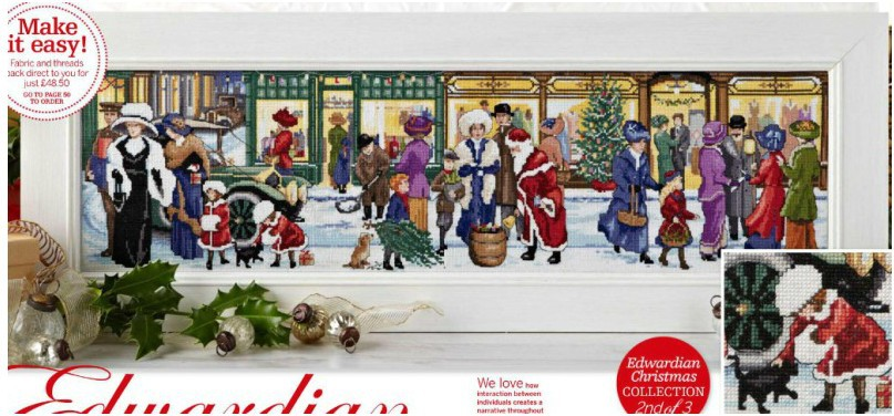 Top Quality popular counted cross stitch kit Christmas street shop snow winter, edwardian Christmas collection 86X30CM, 14CT 3 3