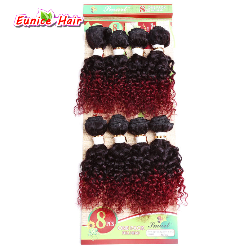 Cheap #1B/Bug 8 Bundles Unprocessed Virgin Kinky Curly Hair 8inch Deep Wave Brazilian Jerry Curly Hair 1 pack for full head xuchang longqi beauty hair 7a brazilian virgin hair straight tissage bresilienne lots 4 unprocessed brazilian hair weave bundles