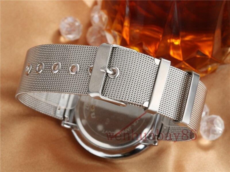 Nya Män Kvinnor Silver Topp Märke Svart Dial Quartz Armbandsur - Herrklockor - Foto 6