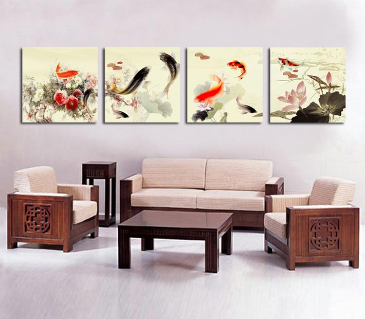 Framed 4 Penal Large Chinese Painting Koi Fish Canvas Art Wall Picture Feng  Shui Home Decoration Quadros De Parede A1087 In Painting U0026 Calligraphy From  Home ...