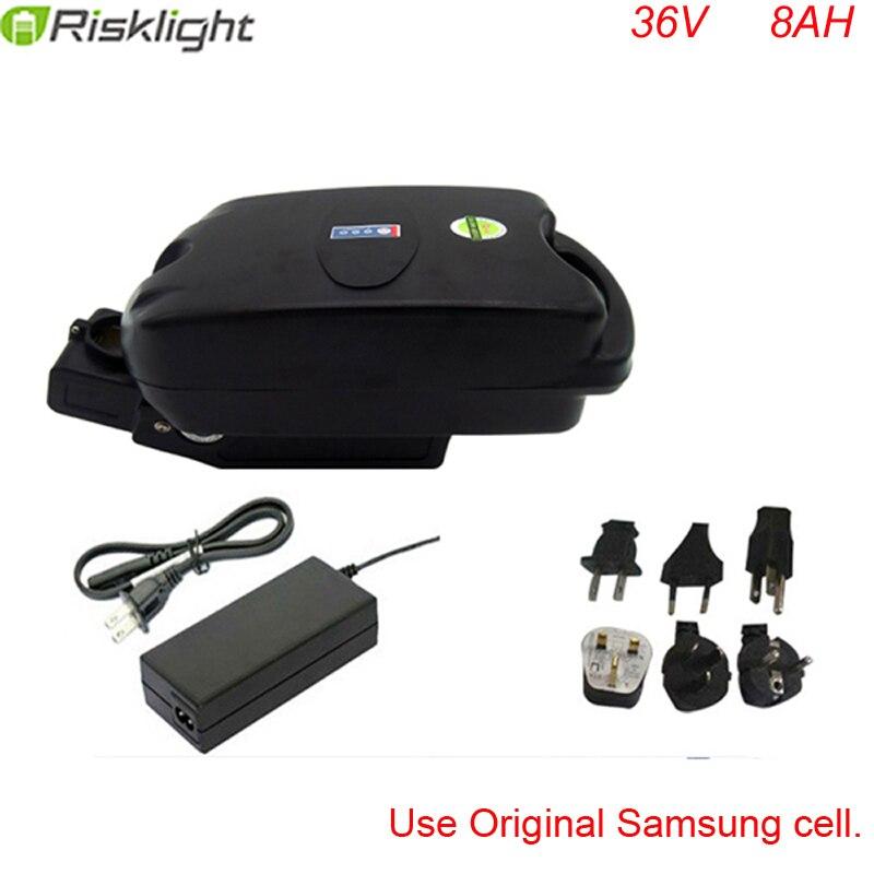 Batterie au lithium-ion 36 v 500 w type grenouille batterie rechargeable ebike 36 v 8ah batterie de vélo électrique avec chargeur et bms