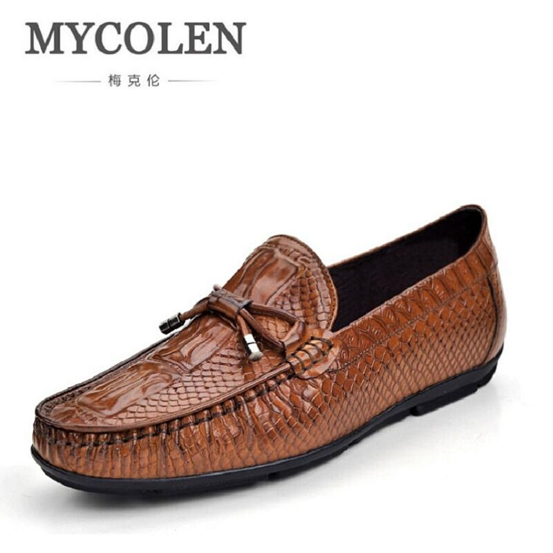 MYCOLEN Vintage Leather Shoes Luxury Brand Crocodile Pattern Men Loafers Slip On Moccasins Men Shoes Casual chaussure homme branded men s penny loafes casual men s full grain leather emboss crocodile boat shoes slip on breathable moccasin driving shoes