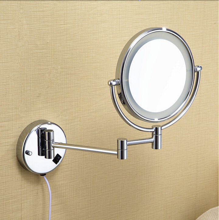 Hot Bathroom Chrome Wall Mounted 8 inch Brass 3X/1X Magnifying Mirror LED Light Folding Makeup ...