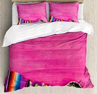 Mexican Decorations Duvet Cover Set, View of Folkloric Serape Blanket Charro Hat and Music Instruments, 4 Piece Bedding Set