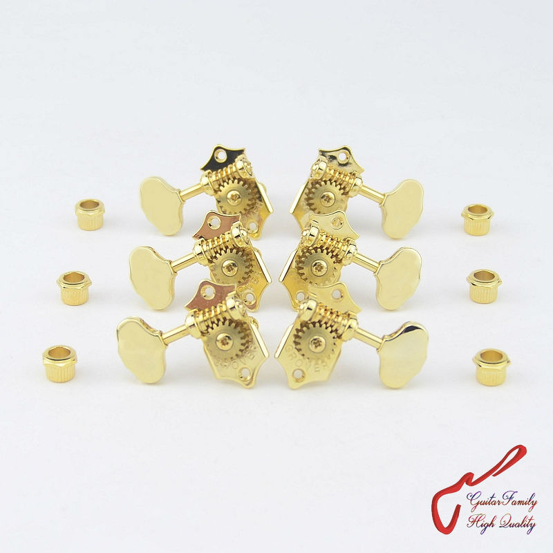 1Set 3R-3L Genuine Grover V97-18GA Vintage Guitar Machine Heads Tuners Gear ratio 1:18 Gold ( without original package )