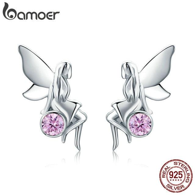 925 Sterling Silver Flower Fairy Pink Stud Earrings for Women