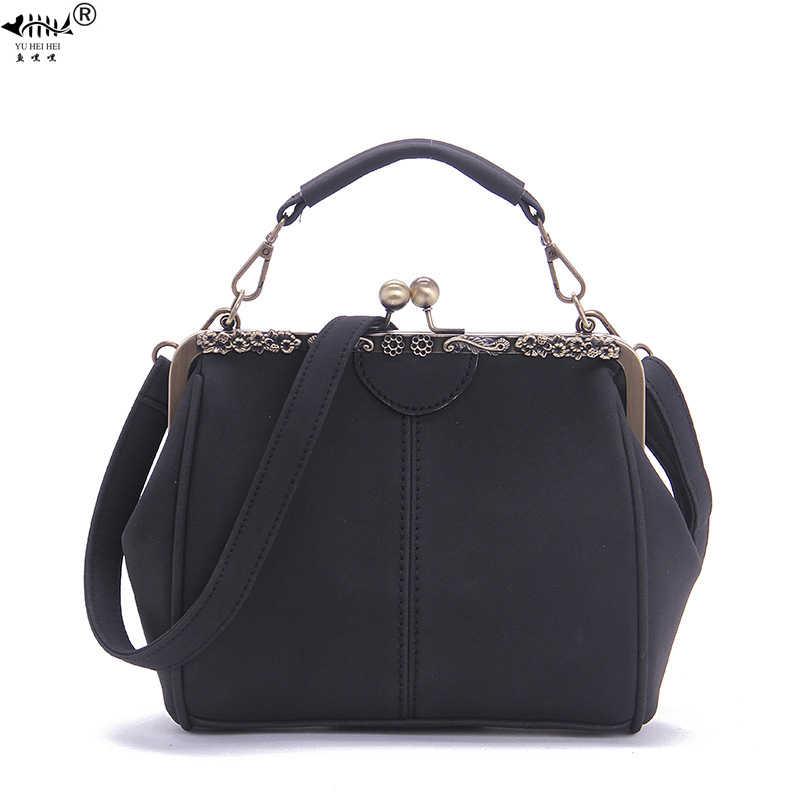 Винтажная модная женская сумка-клатч в рамке с замком в виде поцелуя, сумки через плечо, Женская матовая кожаная женская сумка из искусственной кожи
