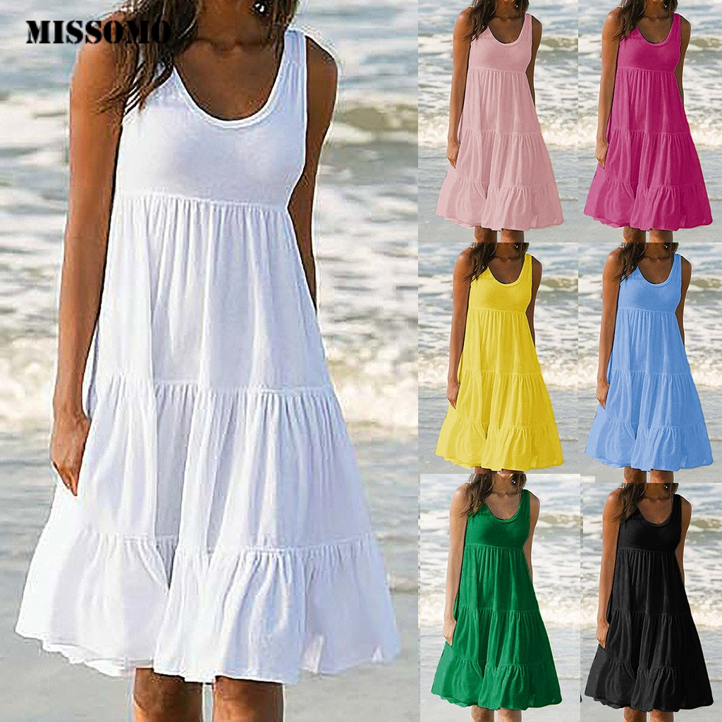 MISSOMO Women Holiday Summer Dress Solid Sleeveless Party Sundress Beach Dress Women Clothes 2019 Vestidos De Festa 624