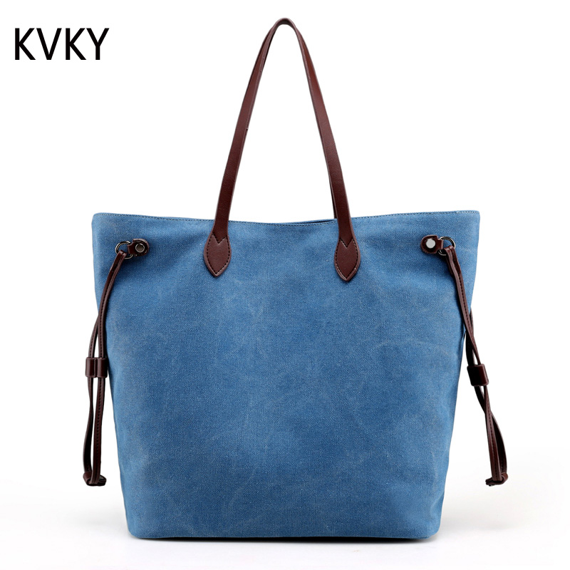 2017 Women Handbags Canvas Large Capacity canvas Big Shoulder Bag Tote Shopper Vintage all-match Ladies Casual Summer Bags aosbos fashion portable insulated canvas lunch bag thermal food picnic lunch bags for women kids men cooler lunch box bag tote