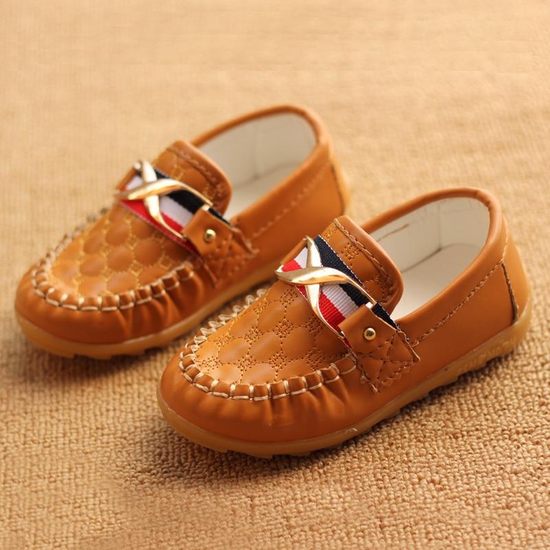 e0afb170d 2018 весенние и осенние детские для мальчиков и девочек мягкие скольжению  подошва обувь, детская повседневная кожаная обувь