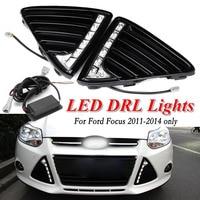 TAIHONGYU Pair Daytime Running Light LED Fog Head Lamp DRL For Ford Focus 2011 2014 Ship From UK CN