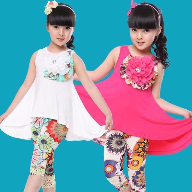2016 nuevas muchachas del verano Dress + Leggings traje Casual tela Modal flor Pastoral del bebé embroma la ropa moda ropa para niñas establece