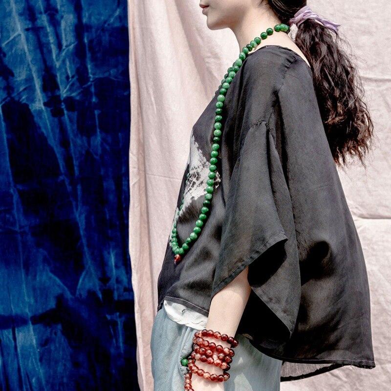cou Tie kaki Vintage Soie Lâche shirts 2019 Courtes Noir Femmes Johnature Supérieure T Qualité Dye Été Manches O Décontracté Nouvelle Hauts Noirs 1qW8EUnT