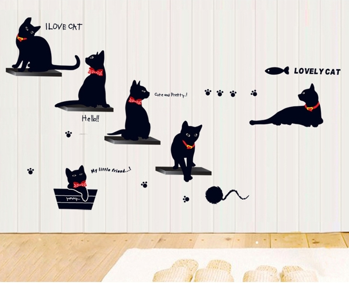 ... 2017 New Black Cats Wall Stickers Decals Animals Pvc Decals Women Kids  Home Bedroom Parlor Decor ... Part 89