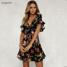 Summer Dress 2018 Women Sexy Deep V-Neck Black Flower Print Dresses Hem Folds Bohemian Style Belt Mini Ruffle  Beach Dress