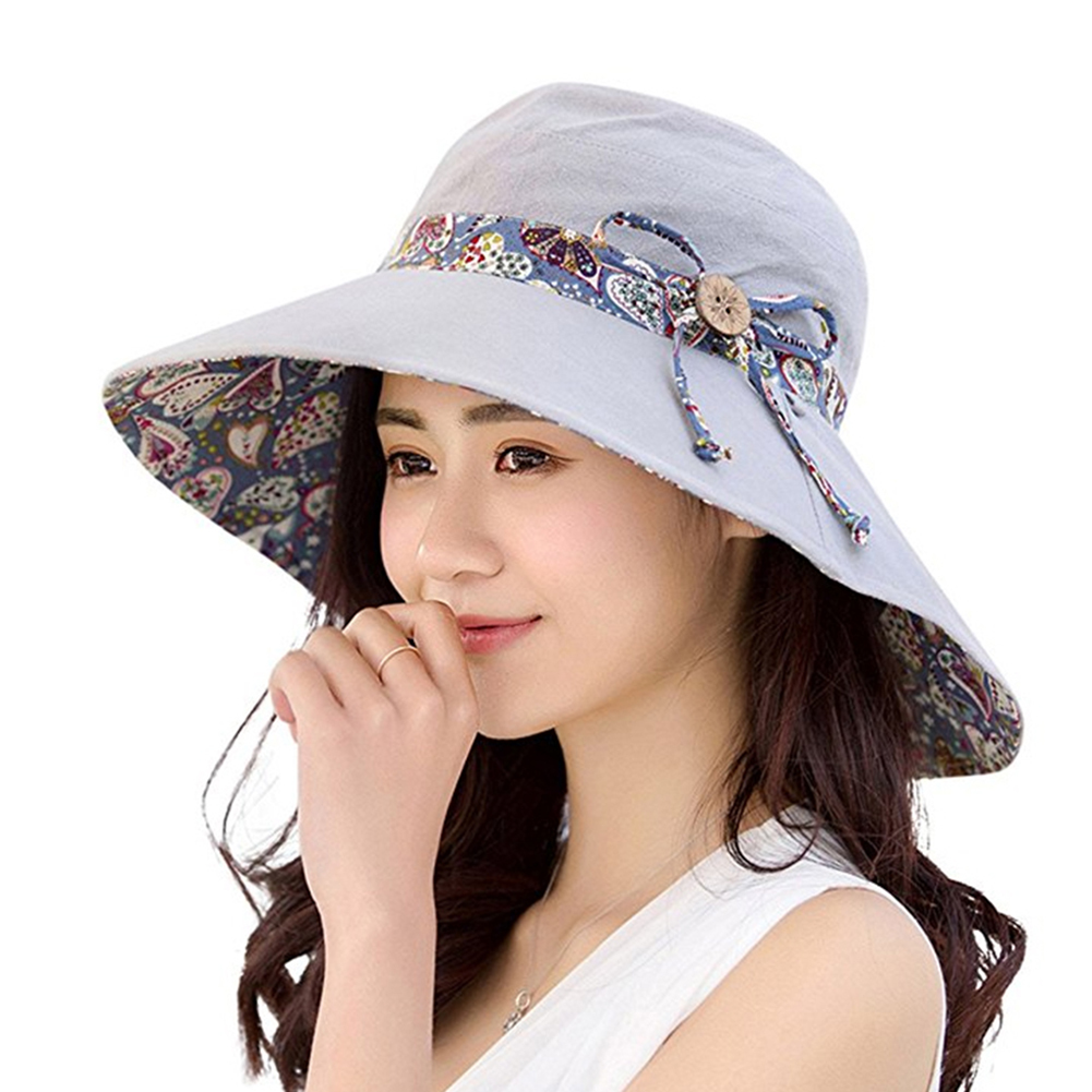 Women Summer Anti-UV Beach Hat Travel Bowknot Big Wide Brim Sun Hat Reversible Foldable Cap Sun Block Hats Sunscreen Cap