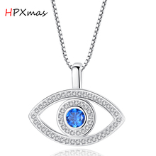 цена на HPXmas Trendy Cubic Zirconia Blue Crystal Rhinestone Evil Eye Pendant Necklace For Women Jewelry Gift A105