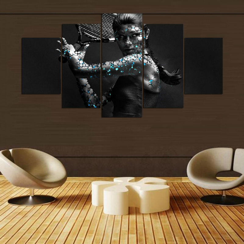 Abstract Canvas Painting Art Poster Style 5 Panel Tennis Sport Wall Pictures For Living Room Cuadros Modern Decor Paintings YGYT