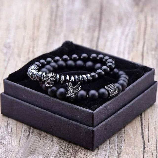 Bracelet Men Accessories Matte Oxyn Stone Beads Skull Erkek Bileklik Set Crown Jewelry Mens Bracelets For Women Pulseras Mujer 1