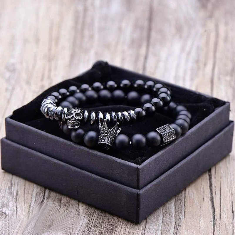 Matte Oxyn Stone Beads Skull Bracelet Set Crown Men Accessories Erkek Bileklik Jewelry Mens Bracelets For Women Pulseras Mujer