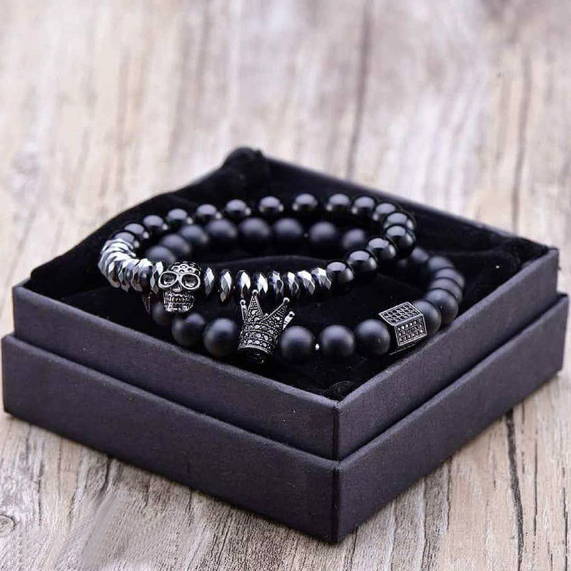 Bracelet Men Accessories Matte Oxyn Stone Beads Skull Erkek Bileklik Set Crown Jewelry Mens Bracelets For Women Pulseras Mujer(China)