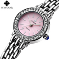 WWOOR Brand Pink Dial Rhinestones Bracelet Watch Ladies Quartz Casual Dress Watch Women Girls Watches Analog Clock Montre Femme
