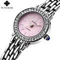 WWOOR Marca Pink Dial Piedras Señoras Del Reloj de Pulsera de Cuarzo Reloj de Vestir Casuales Mujeres Niñas Relojes Analógico Reloj Montre Femme