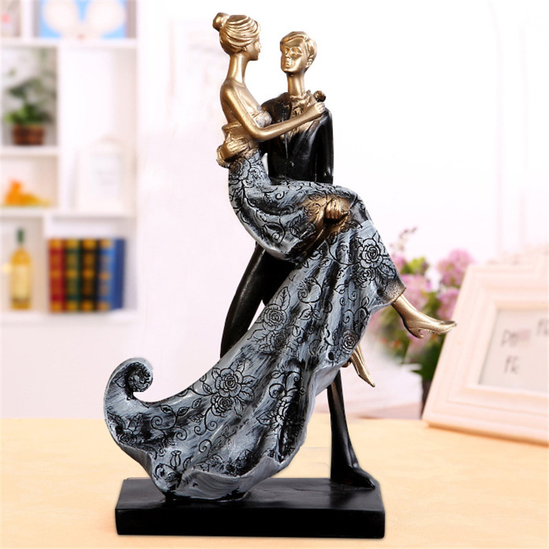 Elegant Figurines Miniatures Home Decor Table Craft Love Couple Statue Figurines Miniatures Decor Doll Wedding Decoration