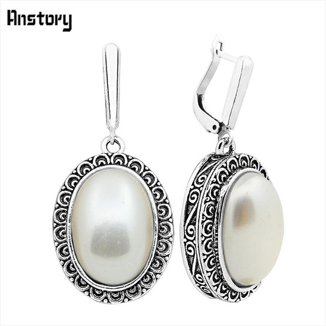 Big Oval Pearl Earrings For Women Vintage Antique Silver Plated Flower Pendant F