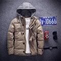 Inverno Quente dos homens Novos de Cor Sólida Com Capuz Para Baixo Casaco Grosso dos homens de Cor Sólida Com Capuz Jaqueta de Inverno dos homens Personalidade da moda