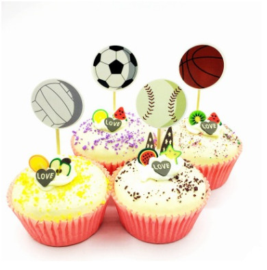 24pcs/set Kids Birthday Party Decoration Soccers Football/basketball/baseball/vollyball Cupcake Toppers Picks Kids Favor Bands Without Stones