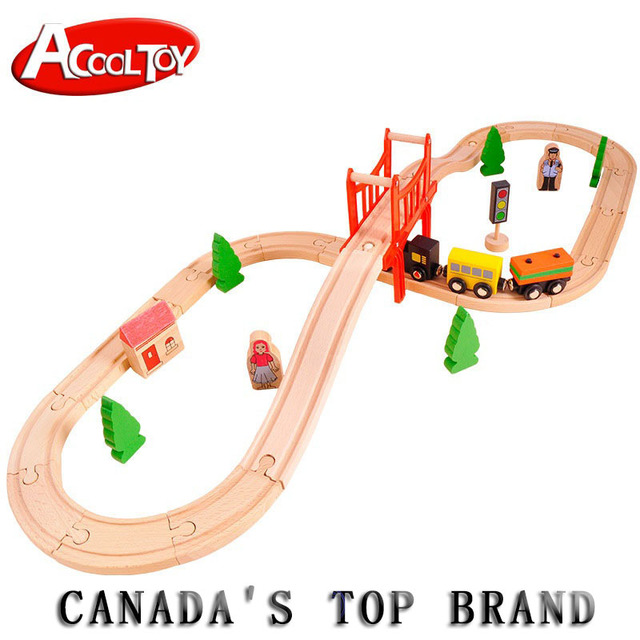 Wooden Train Set Railway Track Building Blocks Puzzle Accessories Educational Toys with 37 Pieces for Boys Girls Over 3 Years