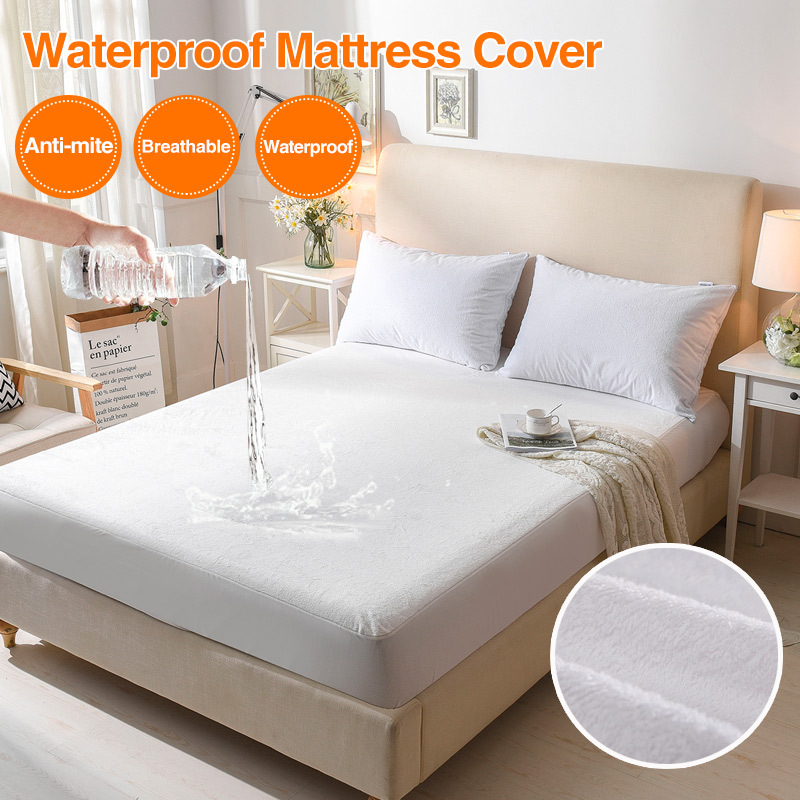 Bed Cover Cotton Terry Matress Cover 100% Waterproof Breathable Mattress Protector Bed Anti-mite Mattress Pad Cover for Mattress