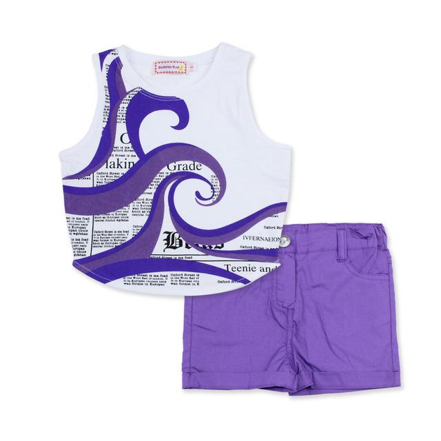 2016 moda verão roupas meninas set equipamentos cute 2 pcs bebê crianças impressão de algodão sem mangas colete define shorts pant