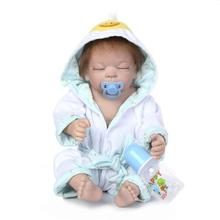 New Style Realistic 22″ Anatomically Correct Real Soft Blue Boy Baby Doll Full Silicone Vinyl Handmade Reborn Baby Dolls