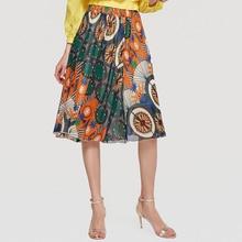 Wasteheart Summer Bohemian Women Fashion Sexy Skirt High Waist Chiffon Printed Long Skirts Beach Style A-Line Plus Size