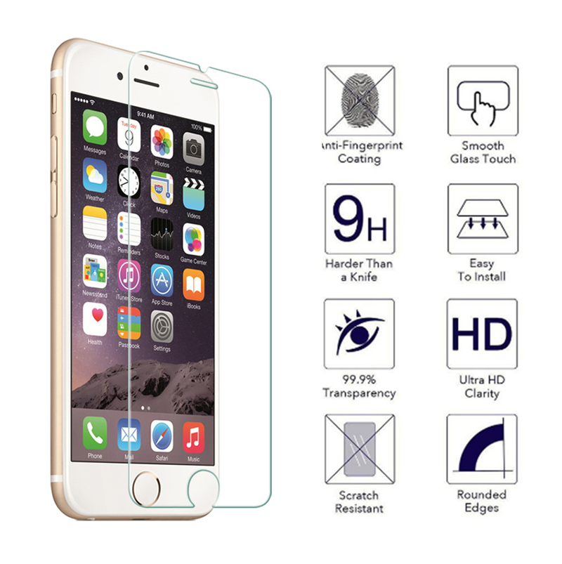 TOP 9H Tempered Glass For IPhone 11 Pro Xs Max XR 8 X 10 4 4s 5 5s 5c SE 6 6s Plus 7 Screen Protector Film Case Phone Bag+ Cloth