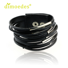 Diomedes Newest DIOMEDES Creative Women Ladies Girl Fashion Leather Bracelet Wristband Cuff Bangle Luxury and Casual Bracelet