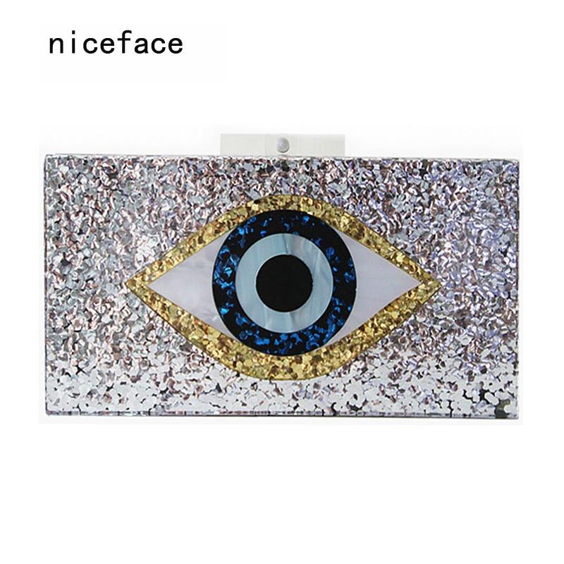 2017 new handbag brand fashion women messenger bags Geometric mosaic wallet acrylic evening bag Sequins eyes