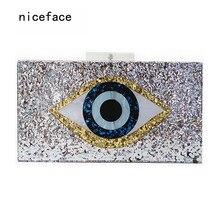 2017 new handbag brand fashion women messenger bags Geometric mosaic wallet acrylic evening bag Sequins eyes casual Shoulder Bag