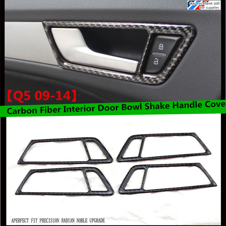Free shippingt Carbon Fiber Interior Door Bowl Shake Handle Cover Trim Fit For Audi (fir for Q5 09-14)