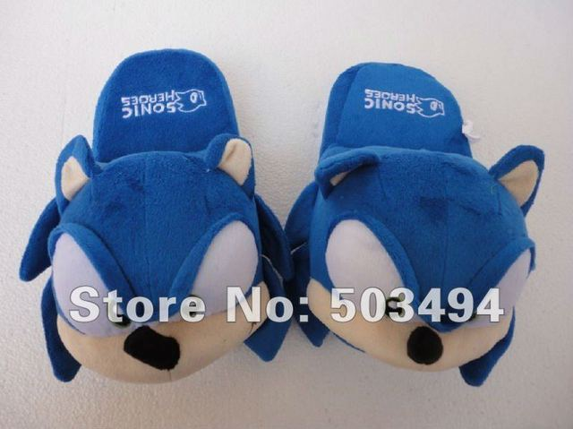 Free shipping Blue Sonic Hedgehog Plush Toys Slippers Indoor Slipper Adult 11 inch For Adult