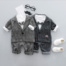 Baby boy clothes spring boy gentleman suit plaid one button suit + T-shirt + pants three-piece suit for 0-3 years old gift for c heather one button blazer three piece suit