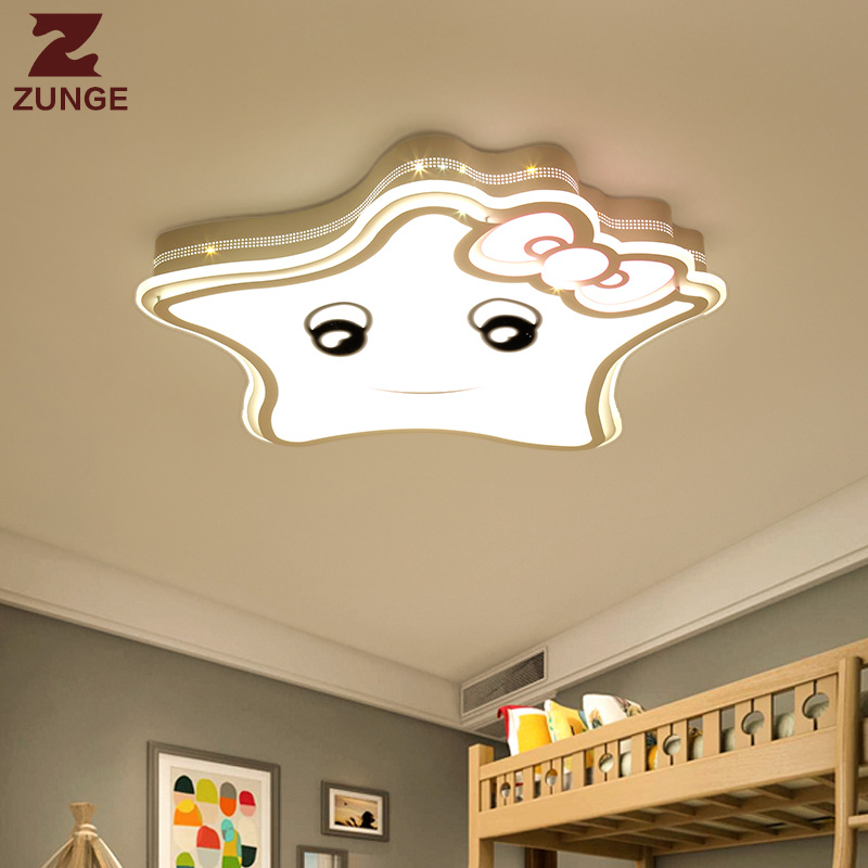 ZUNGE LED ceiling lights children's room cartoon creative five pointed star cute boy and girl bedroom P592 study room iron lamp creative cartoon ceiling lamp smd led electrodeless dimmable air plane shape light study children boy girl room bedroom
