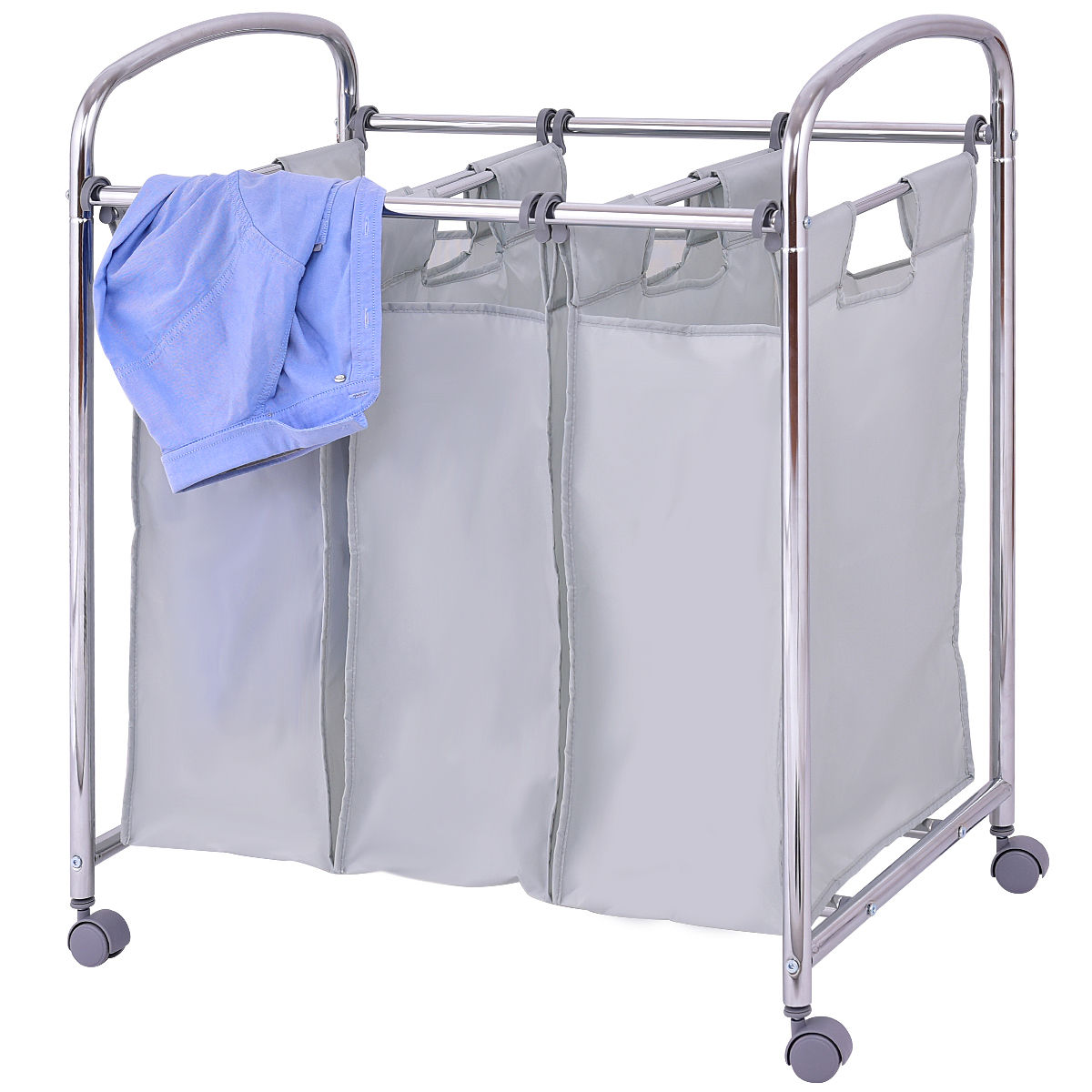 Goplus Laundry Cart Basket Triple Bag Sorter With 3 Section bags Cart Trolley Bathroom H ...