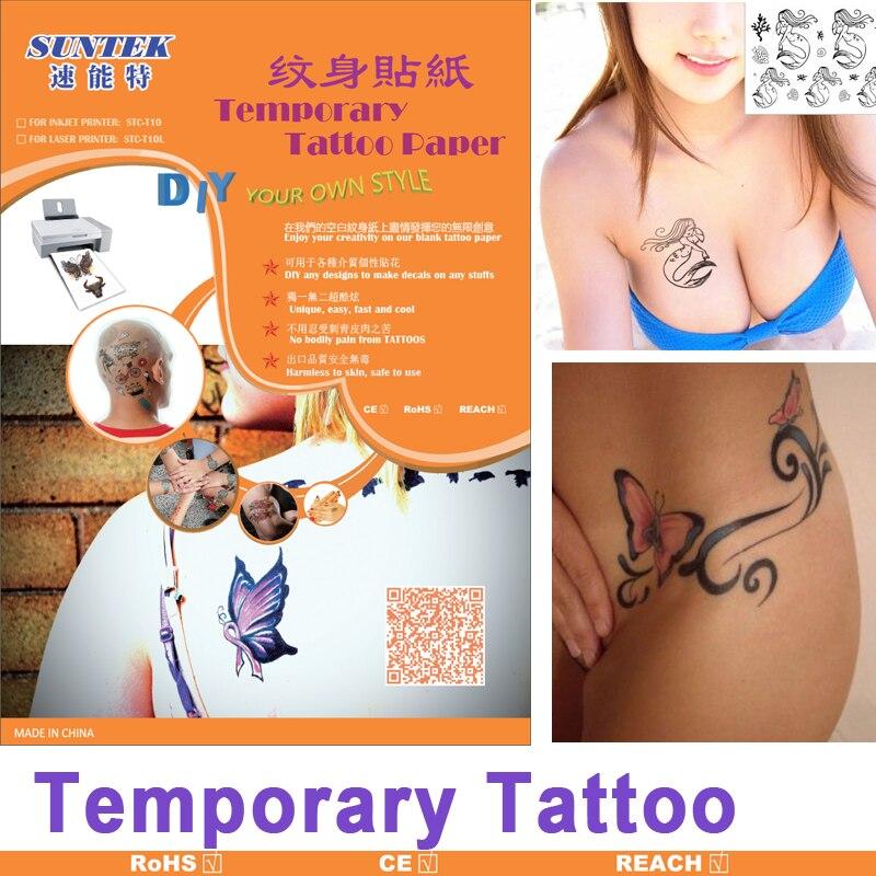 10setslot A4 Inkjet Laser Temporary Tattoo Paper Tattoo Sticker Water Decal Film For Diy Body Nail Art