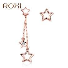 4fa3bf684057 Roxi nuevo asimétrico estrella larga borla Pendientes para las mujeres rosa  de oro Pentagram colgante gotas de oído pendiente br.