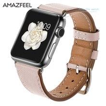 AMAZFEEL Leather Watch Bracelet For Apple Watch Band 42mm 38mm iwatch 1 2 3 Accessories For Apple Watch Strap Watchband